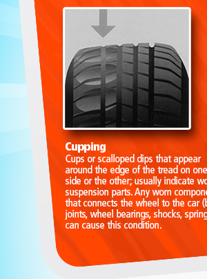 Cupping Cups or scalloped dips that appear around the edge of the tread on one side or the other; usually indicate worn suspension parts. Any worn component that connects the wheel to the car - ball joints, wheel bearings, shocks, springs - can cause this condition.