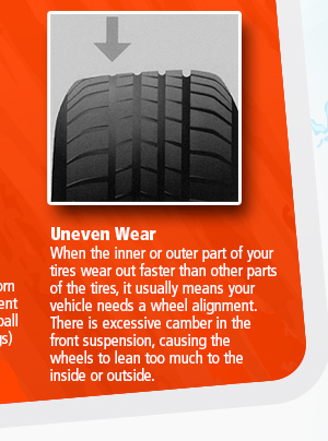 Uneven Wear When the inner or outer part of your tires wear out faster than other parts of the tires, it usually means your vehicle needs a wheel alignment. There is excessive camber in the front suspension, causing the wheels to lean too much to the inside or outside.